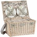 Picnic-Basket France for 6 people, patined wicker/linen, fully equipped, l 50 x w 35 x h 26 cm