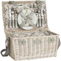 Picnic-Basket France for 4 people, patined wicker/linen, fully equipped, l 45 x w 31 x h 24 cm