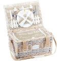 Picnic-Basket Happiness for 2 people, patined wicker/linen, fully equipped, l 40 x w 28 x h 23 cm
