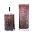 DutZ®-Collection Vase Cylinder, H 18 x Ø 12 cm, Aubergine mit Bubbles