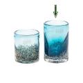 DutZ®-Collection Vase Cylinder, H 14 x Ø 9 cm, Blau mit Bubbles