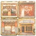 Marmor Untersetzer 4er Set, Motivserie Ladenfronten, Antikfinish, Kork-Rückseite, Maße: L 10 x B 10 x H 1 cm