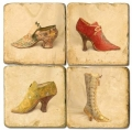 Marble Coasters, set of 4, illustration theme Chaussures, antique finish, cork backed, l 10 x w 10 x h 1 cm
