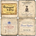 Marble Coasters, set of 4, illustration theme French Wine Labels 5, antique finish, cork backed, l 10 x w 10 x h 1 cm