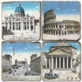 Marble Coasters, set of 4, illustration theme Ancient Rome, antique finish, cork backed, l 10 x w 10 x h 1 cm