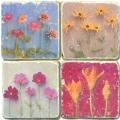 Marble Coasters, set of 4, illustration theme Flower Potpourri, antique finish, cork backed, l 10 x w 10 x h 1 cm