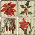 Marmor Untersetzer 4er Set, Motivs. Weihnachtszweige, Antikfinish, Kork-Rückseite, Maße: L 10 x B 10 x H 1 cm