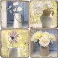 Marmor Untersetzer 4er Set, Motivserie Blumenstilleben, Antikfinish, Kork-Rückseite, Maße: L 10 x B 10 x H 1 cm