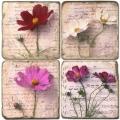 Marmor Untersetzer 4er Set, Motivserie Blütenbriefe 3,  Antikfinish, Kork-Rückseite, Maße: L 10 x B 10 x H 1 cm