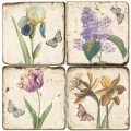 Marble Coasters, set of 4, illustration theme Blossoms and Butterflies, antique finish, cork backed, l 10 x w 10 x h 1 cm