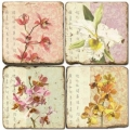 Marble Coasters, set of 4, illustration theme Blooming Branches, antique finish, cork backed, l 10 x w 10 x h 1 cm