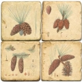 Marble Coasters, set of 4, illustration theme Cones, antique finish, cork backed, l 10 x w 10 x h 1 cm