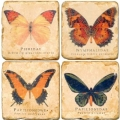 Marble Coasters, set of 4, illustration theme Butterflies, antique finish, cork backed, l 10 x w 10 x h 1 cm