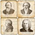 Marmor Untersetzer 4er Set, Motivserie Komponisten, Antikfinish, Kork-Rückseite, Maße: L 10 x B 10 x H 1 cm