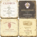 Marble Coasters, set of 4, illustration theme Italian Wine Labels 2, antique finish, cork backed, l 10 x w 10 x h 1 cm