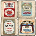 Marble Coasters, set of 4, illustration theme Vodka Labels, antique finish, cork backed, l 10 x w 10 x h 1 cm