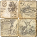 Marble Coasters, set of 4, illustration theme Banknotes, antique finish, cork backed, l 10 x w 10 x h 1 cm