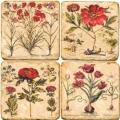 Marmor Untersetzer 4er Set, Motivserie Rote Blumen, Antikfinish, Kork-Rückseite, Maße: L 10 x B 10 x H 1 cm