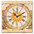 Marmorfliesen Uhr, Motiv Zodiacs, italienischer Marmor, Stärke ca 1 cm,  Antikfinish, Maße: L 20 x B 20 cm