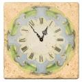 Marmorfliesen Uhr, Motiv Vignette, italienischer Marmor, Stärke ca 1 cm,  Antikfinish, Maße: L 20 x B 20 cm
