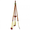 Wardrobe Oars, natural, patined, oars lacquered red, white, with rattan basket, Dimensions: h 180 x
