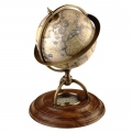 Globe with Walnut Base, antique design, bronze stand, compass, Dimensions: h 21, globe Ø 14,5 cm