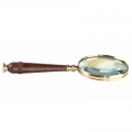 Magnifying Glass, shiny polished brass, wood, magnification x3, Dimensions: : l 25 x Ø 10 cm