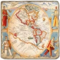 Marble Tile, Theme: Antique Maps B, antique finish, hanger, anti slip nubs, Dim.: l 20 x w 20 x h 1 cm