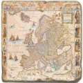 Marble Tile, Theme: Antique Maps C, antique finish, hanger, anti slip nubs, Dim.: l 20 x w 20 x h 1 cm