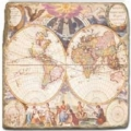 Marble Tile, Theme: Antique Maps D, antique finish, hanger, anti slip nubs, Dim.: l 20 x w 20 x h 1 cm
