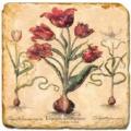 Marmorfliese, Motiv: Rote Blumen C,  Antikfinish,  Aufhängeöse, Antirutschfüßchen, Maße: L 20 x B 20 x H 1 cm