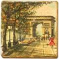 Marmorfliese, Motiv: Paris, romantisch A, Antikfinish, Aufhängeöse, Antirutschfüßchen, Maße: L 20 x B 20 x H 1 cm