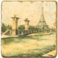 Marmorfliese, Motiv: Paris, romantisch D,  Antikfinish,  Aufhängeöse, Antirutschfüßchen, Maße: L 20 x B 20 x H 1 cm