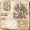 Marble Tile, Theme: Banknotes A, antique finish, hanger, anti slip nubs, Dim.: l 20 x w 20 x h 1 cm