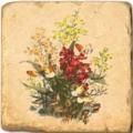 Marmorfliese, Motiv:Frühlingsblumen A,  Antikfinish,  Aufhängeöse, Antirutschfüßchen, Maße: L 20 x B 20 x H 1 cm