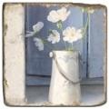 Marmorfliese, Motiv: Blumenstilleben A,  Antikfinish,  Aufhängeöse, Antirutschf., Maße: L 20 x B 20 x H 1 cm