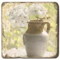 Marmorfliese, Motiv: Blumenstilleben B,  Antikfinish,  Aufhängeöse, Antirutschf., Maße: L 20 x B 20 x H 1 cm