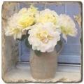 Marmorfliese, Motiv: Blumenstilleben C,  Antikfinish,  Aufhängeöse, Antirutschf., Maße: L 20 x B 20 x H 1 cm