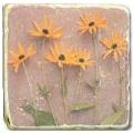 Marmorfliese, Motiv: Blütenpotpourri B,  Antikfinish,  Aufhängeöse, Antirutschf., Maße: L 20 x B 20 x H 1 cm