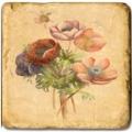 Marmorfliese, Motiv: Frühlingsblumen C,  Antikfinish,  Aufhängeöse, Antirutschfüßchen, Maße: L 20 x B 20 x H 1 cm