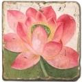 Marmorfliese, Motiv: Sommerblüten 2 C,  Antikfinish,  Aufhängeöse, Antirutschf., Maße: L 20 x B 20 x H 1 cm