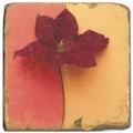 Carrelage en marbre, motif fleur B, finition antique, illet pour l'accroche, pieds antidérapants, L 20 xl 20 x h 1 cm