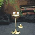 Wachskugel Tischleuchter Stylus, Klein, Messing, goldglänzend poliert, 2 Kugel-Brenner, Maße: H 17 x Ø 8,5 cm