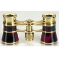 Opera Binoculars Glamouresque, with china effect enamel red, black, including pouch, magnification x3, object lens Ø 23 mm
