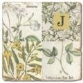 Carrelage en marbre, initiale J, finition antique, illet pour l'accroche, pieds antidérapants, L 20 xl 20 x h 1 cm