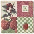 Carrelage en marbre, initiale K, finition antique, illet pour l'accroche, pieds antidérapants, L 20 xl 20 x h 1 cm