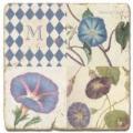 Marmorfliese, Monogramm M,  Antikfinish,  Aufhängeöse, Antirutschfüßchen, Maße: L 20 x B 20 x H 1 cm
