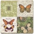 Marmorfliese, Monogramm B,  Antikfinish,  Aufhängeöse, Antirutschfüßchen, Maße: L 20 x B 20 x H 1 cm