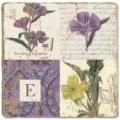 Marmorfliese, Monogramm E,  Antikfinish,  Aufhängeöse, Antirutschfüßchen, Maße: L 20 x B 20 x H 1 cm
