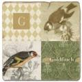 Marmorfliese, Monogramm G,  Antikfinish,  Aufhängeöse, Antirutschfüßchen, Maße: L 20 x B 20 x H 1 cm